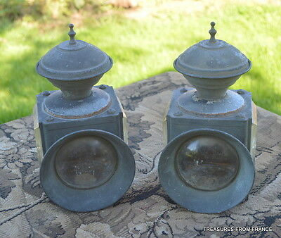 TWO French antique brass carriage coach lamp tops cut glass