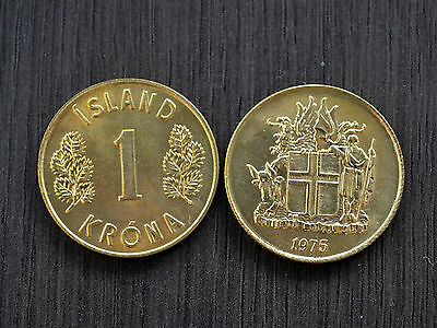 Iceland  1 Krona 1975  KM12a  UNC COIN EUROPEAN CURRENCY