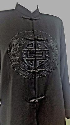 SILVER DRAGON Jacket Traditional Chinese Dragon Black Small NEW Polyester