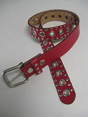 """Red Genuine Leather Belt XL Grommets & Studs Fits Up tp 41"""""""