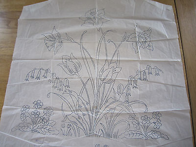 """LARGE Vintage Embroidery Transfer -  SPRING FLOWERS  - 20"""" x 20"""""""