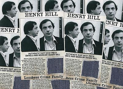 Henry Hill Authentic Worn Owned Vest 'Goodfellas' Mafia Relics 4x6 Photo Display