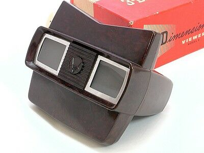 Sawyers View- Master Model E Bakelite 3-D Viewer 1950s with Box and a few Reels