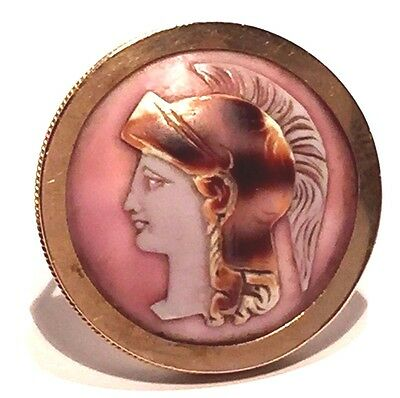 Vintage 14K Gold Carved Roman Etruscan Soldier Round Shell Cameo Brooch Pin '