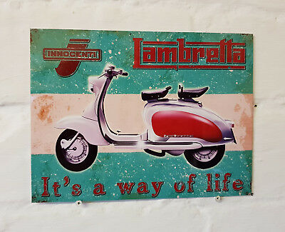 "10910 Lambretta scooter 6/"" x 8/"" Vintage Metal Steel Advertising Sign Plaque"