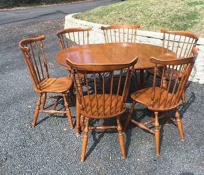 Ethan Allen Colonial Dining Kitchen Set 6 Windsor Chairs Table Early American