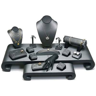 17 Piece Leather Jewelry Display Set Counter