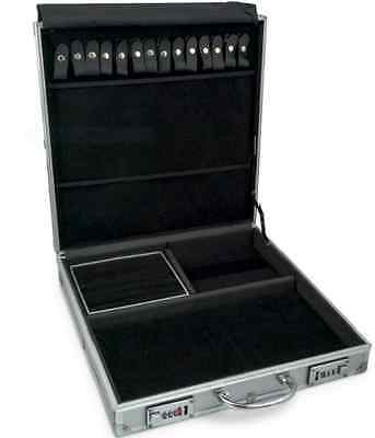 Large Aluminum Jewelry Attache Display Travel Case & Locks