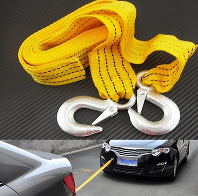 3M 3Tons Car Tow Rope Pull Towing Strap Hooks Heavy Duty Car Van Road Recovery