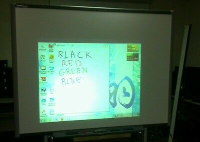 """SB680 77"""" SmartBoard Interactive Board with 4 Pens, Eraser, Pen Tray and Cable."""