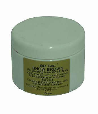 gold label show brown cover up highlight dye for equine horse showing & grooming