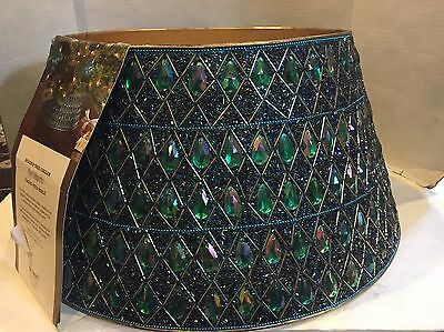 """New Beaded Christmas Tree Skirt Collar Pier1 Peacock Colors 21"""" Chic French"""