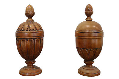 Pair of turned mahogany decorative urns (12-925)