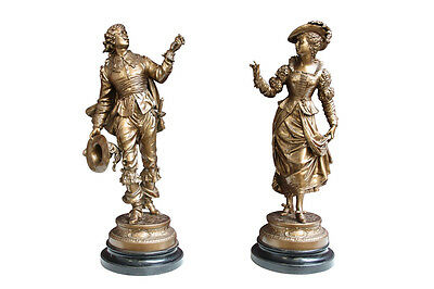 Pair of romantic French spelter figures (12-919)