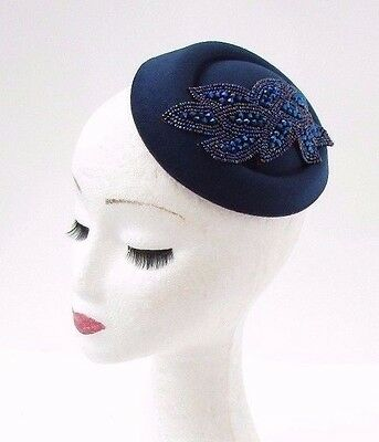 Navy Royal Blue Pillbox Hat Hair Fascinator Races Statement Cocktail Vtg 3070