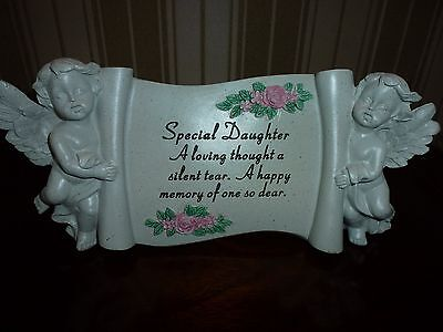 Daughter angel cherub scroll for grave,funerals,memorial tribute
