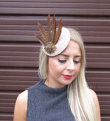 Beige Brown Pheasant Feather Pillbox Hat Fascinator Hair Clip Vintage Races 3072