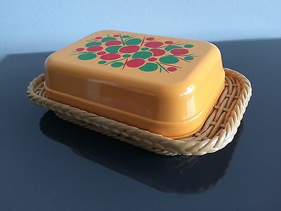 Vintage Emsa Yellow Plastic Butter Dish With Lid 1970's 70's West German Camping