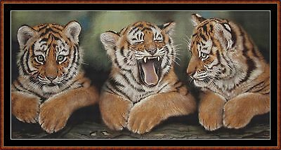 Cross Stitch Chart ( Pattern ) - TIGER KITTIES *CD Delivery*