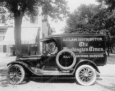 Antique Slot Machine Service Truck 1900s Old 8' -10 B&W Photo Reprint