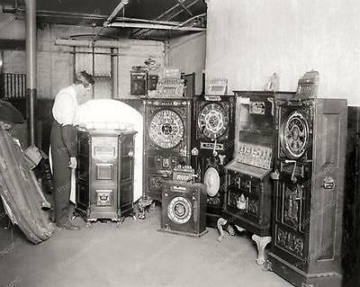 """Confiscated Antique Upright Slot Machines 8"""" - 10"""" B&W Photo Reprint"""