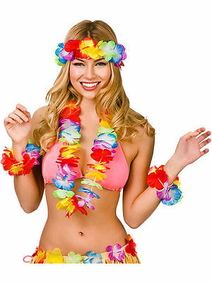 Hawaiian Fancy Dress 4 Piece Lei Garland Set Hawaiin Beach Party Bright Rainbow