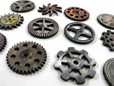 Retro Gear Set - Collection of 12 Wooden Steampunk Gears