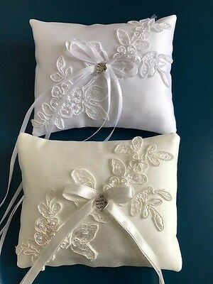 White or Ivory Wedding Ring Cushion Bearer Pillow Floral Lace Pearls Heart