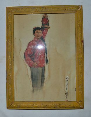 "China Old Original Wooden-frame Painting Hang Decoration""a Girl"""