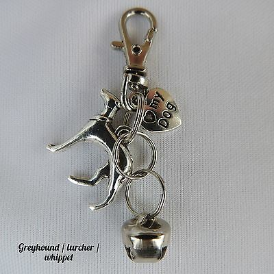 Greyhound, Whippet, Lurcher Anti-Theft Purse or Bag Charm With Bell