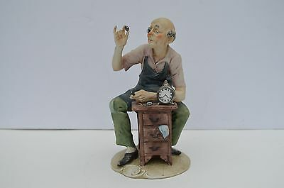 "Fantastic ""the Watch Maker"" Porcelain Figurine By Capodimonte Signed A. Benni"