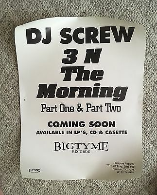 Official DJ SCREW promo Poster From Bigtyme records 3 N The Mornin' Part 1 And 2
