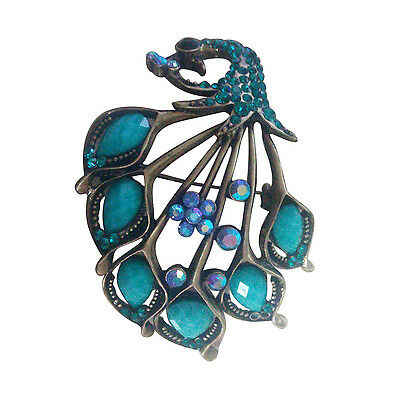 Vintage Style Amazing Turquoise And Blue Rhinestones Peacock Brooch Pin N3