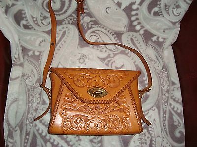 Vintage 70's Folklore Purse, hand bag Tooled Leather mexican
