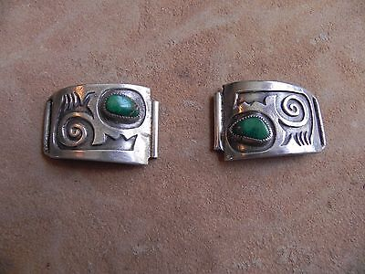 Cerrillos Turquoise & Sterling Silver Watch Tips Watch Band Hopi
