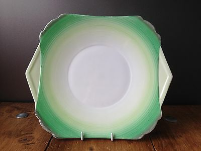 Gorgeous Art Deco Shelley Pottery Harmony Green Circles Banded Cake Tea Plate