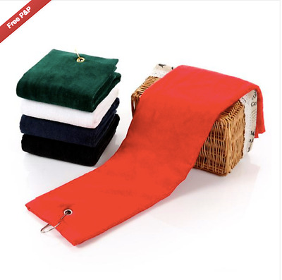 Golf Towel with Metal Clip  - 100% Cotton - Red -  Brand New - Yoga/Spinning/