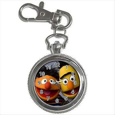 NEW* HOT BERT AND ERNIE THE MUPPETS Silver Tone Key Chain Ring Watch Gift