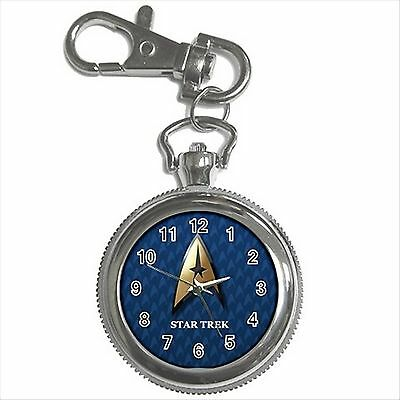 NEW* HOT STAR TREK BADGE Silver Color Tone Key Chain Ring Watch Gift