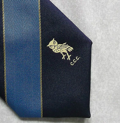 OWL CCC COUNTY CRICKET CLUB TIE STRIPED 1980s VINTAGE BY MADDOCKS & DICK NAVY