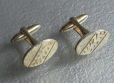 VINTAGE CUFFLINKS 1960s 1970s MOD GOLDTONE METAL CUT RETRO SPACE-AGE MODERNIST