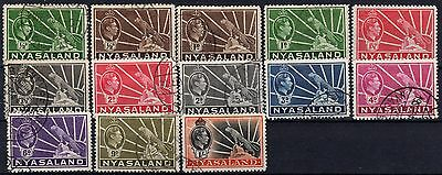 Great Britain / Nysaland, 1938-1944, Sc 54-62, KG VI, full set, used, HCV