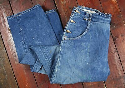 VTG 50s GWG COWBOY KING UNION MADE BIB FRONT DENIM JEANS ROCKABILLY W31 L29