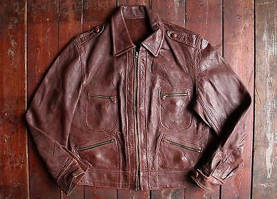 VTG 50s CANADIAN LEATHER & SUEDE REVERSIBLE SPORT MOTORCYCLE JACKET BOYS LARGE