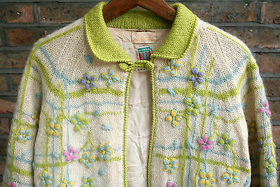 VTG 60s SAKS FIFTH AVENUE ILARIA HAND KNIT WOOL FLORAL CARDIGAN SWEATER 10/12/14