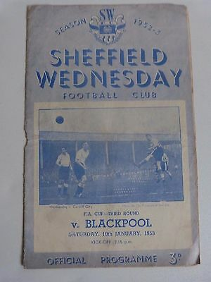 1952/53 Sheffield Wednesday V Blackpool (Cup Winners) - Fa Cup 3Rd Round