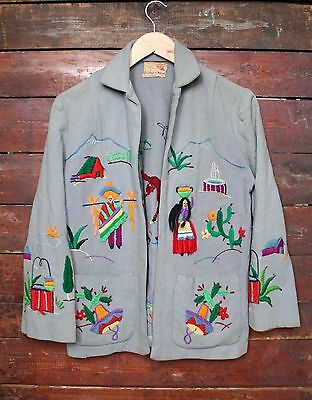 VTG 40s 50s UNIQUE BLUE WOOL HANDMADE EMBROIDERED SOUVENIR JACKET CARDIGAN SMALL