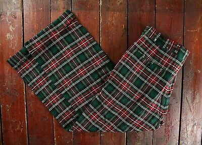 VTG 70s CORBIN SCOTTISH RED GREEN TARTAN CUFFED WOOL TROUSERS GOLF PANTS 34 x 26