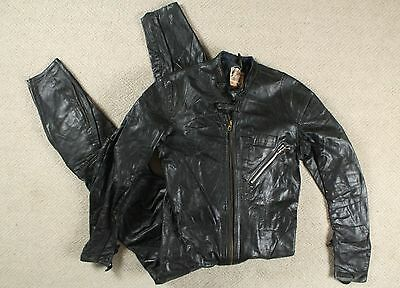 VTG 60s LEWIS LEATHERS LEATHER ONE PIECE MOTORCYCLE RACING SUIT CAFE AVIAKIT 36