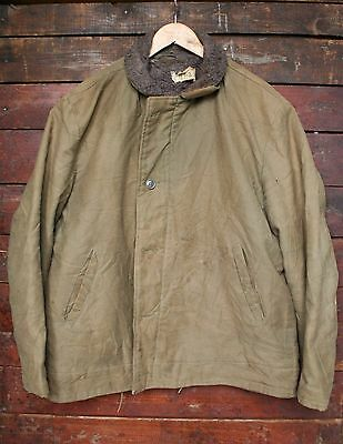 VTG 60s USN N1-2 CIVILIAN DECK JACKET US NAVY MILITARY FAUX ALPACA LINED 44/46